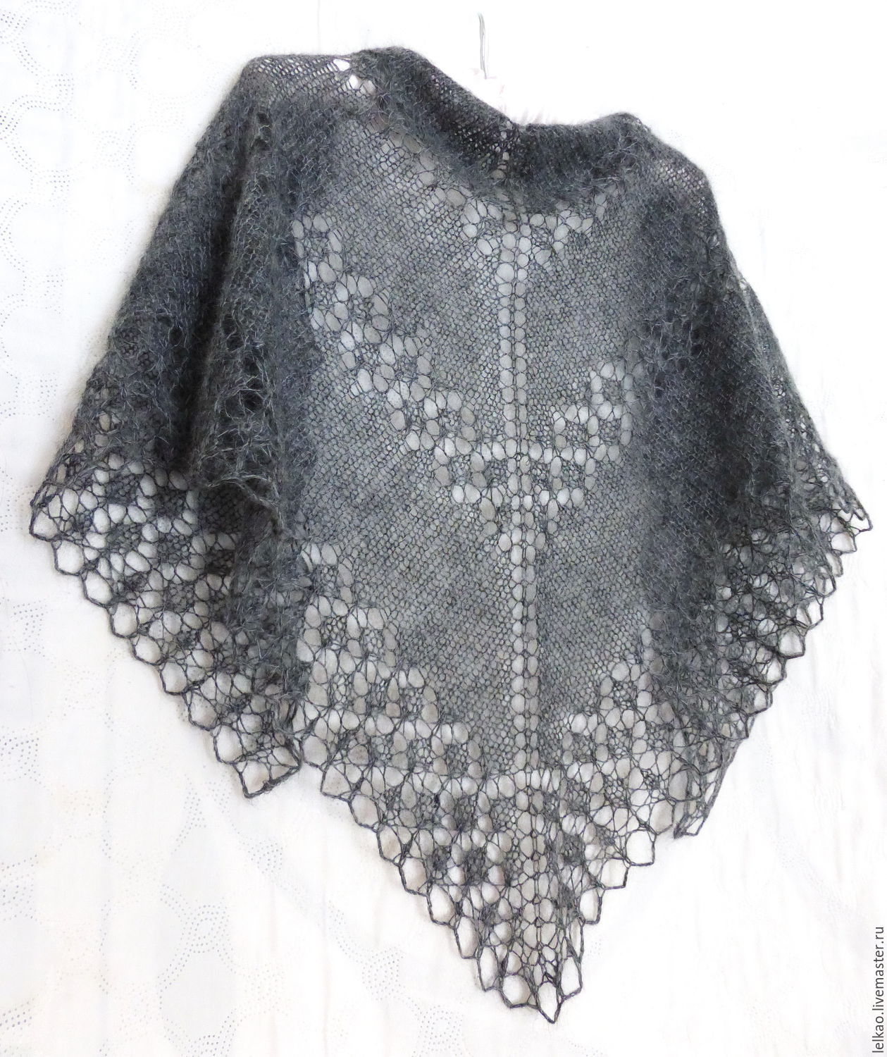 Graphite Mohair Shawl. Hand Knit Lace Shawl – shop online on ...