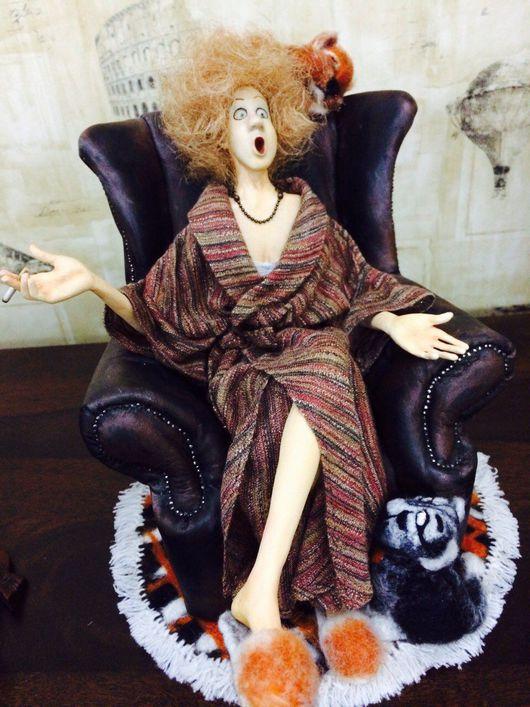 Коллекционные куклы ручной работы. Ярмарка Мастеров - ручная работа. Купить Клавдия. Handmade. Интерьерная кукла, котики, шарж, дама