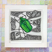 Картины и панно handmade. Livemaster - original item Painting-miniature emerald bronze in the style of zenart (Green beetle). Handmade.