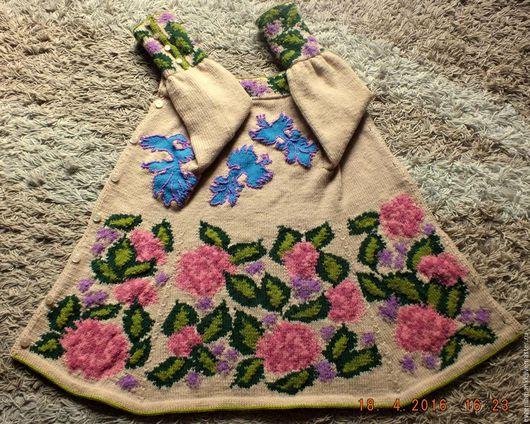 Одежда для девочек, ручной работы. Ярмарка Мастеров - ручная работа. Купить пальто Весна вязаное детское авторское. Handmade. Бежевый