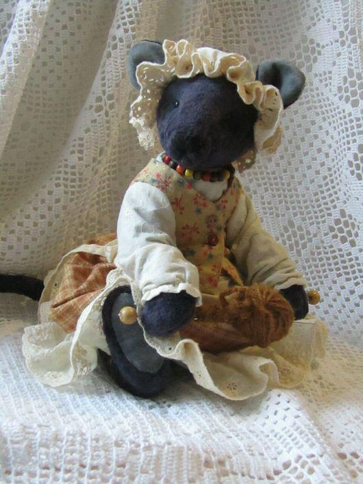 Мишки Тедди ручной работы. Ярмарка Мастеров - ручная работа. Купить Тедди мышь-Тётушка мышь. Handmade. Тёмно-синий