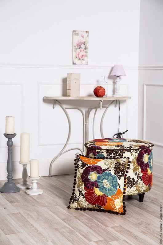 """Мебель ручной работы. Ярмарка Мастеров - ручная работа. Купить Коллекция """"Летнее кафе"""" (пуфик + подушка). Handmade. Комбинированный"""