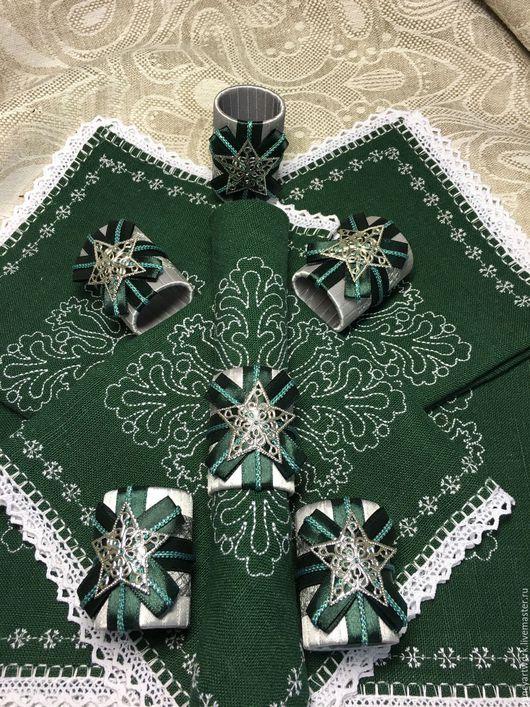 """Новый год 2017 ручной работы. Ярмарка Мастеров - ручная работа. Купить Комплект для сервировки стола """"Торжество"""". Handmade. Тёмно-зелёный"""