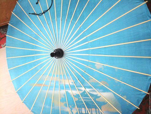 Винтажная одежда и аксессуары. Ярмарка Мастеров - ручная работа. Купить Винтажный японский зонтик. Handmade. Голубой, япония, шёлк натуральный