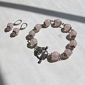 Украшения handmade. Livemaster - original item Earrings and bracelet of rose quartz. Handmade.