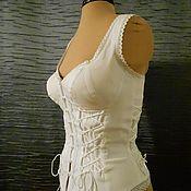 Одежда ручной работы. Ярмарка Мастеров - ручная работа Белый джинсовый топ на шнуровке. Handmade.