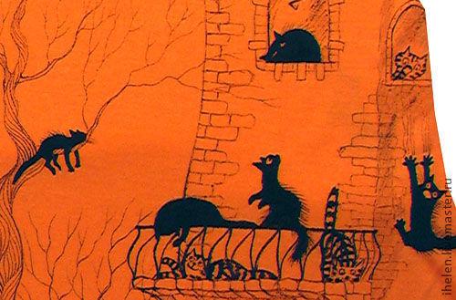 Платья ручной работы. Ярмарка Мастеров - ручная работа. Купить Сарафан про котов. Handmade. Оранжевое, рыжий, трикотаж