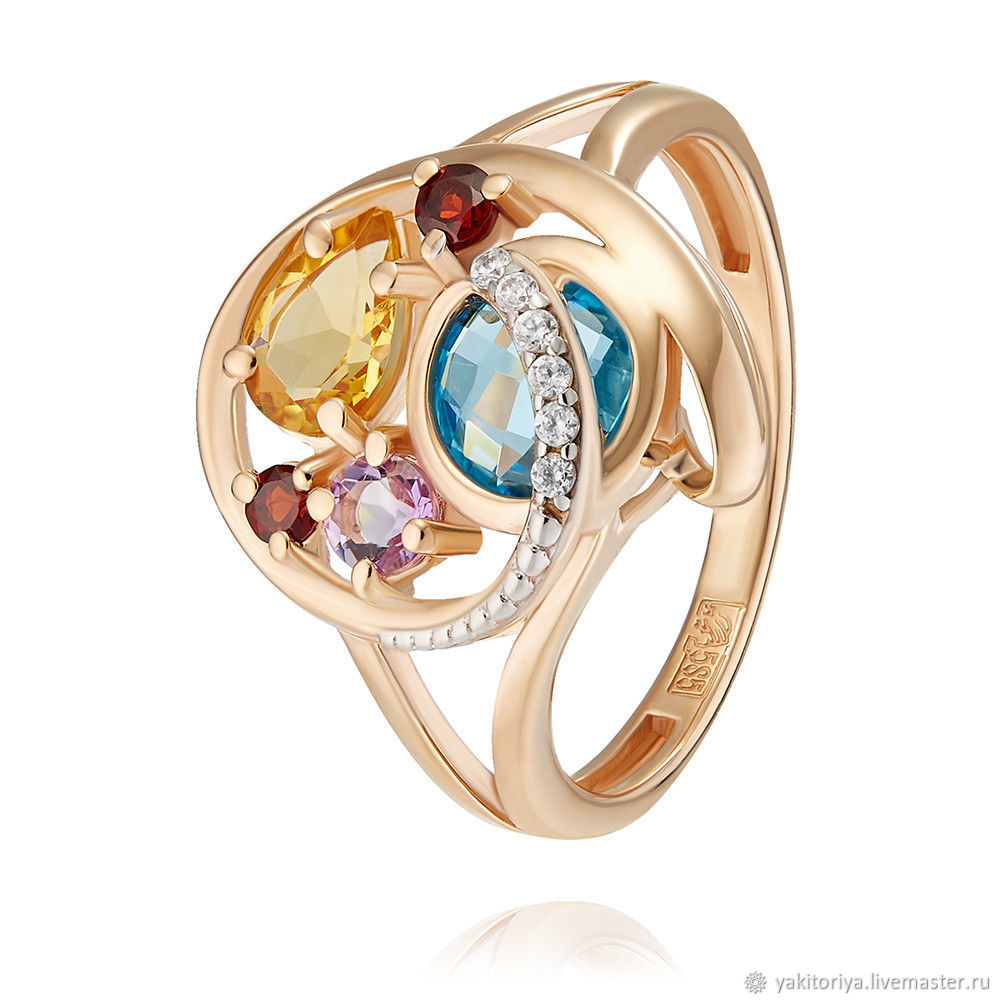 585 gold ring with amethyst, garnet, Topaz, cubic Zirconia and citrine, Rings, Moscow,  Фото №1