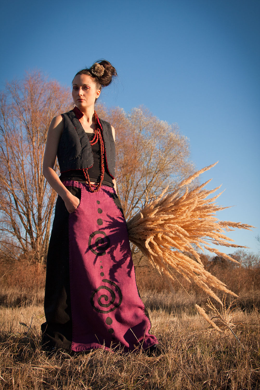 Long Linen Skirt with Applique «Spirals», Skirts, Rostov-on-Don,  Фото №1