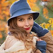 """Аксессуары ручной работы. Ярмарка Мастеров - ручная работа """"Голубица в сентябре"""" Комплект шляпа, снуд и митенки. Handmade."""