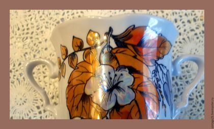 Винтажная посуда. Ярмарка Мастеров - ручная работа. Купить Сахарница золотые листья. Советский фарфор,. Handmade. Комбинированный, фарфоровая сахарница