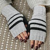Аксессуары handmade. Livemaster - original item Fingerless gloves knitted women`s pearl-gray striped. Handmade.
