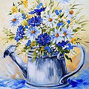 """Картины и панно ручной работы. Ярмарка Мастеров - ручная работа """"Картина с ромашками"""" холст картина цветов. Handmade."""