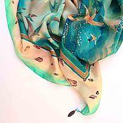 """Аксессуары ручной работы. Ярмарка Мастеров - ручная работа Платок батик """"Южное море"""", платок с росписью, батик платок, шелковый. Handmade."""