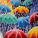 """Люди, ручной работы. Картина """"Веселые зонтики"""". Вышивка от Виктории Егоровой (BeadworkArt). Интернет-магазин Ярмарка Мастеров. Зонтики, дождь"""