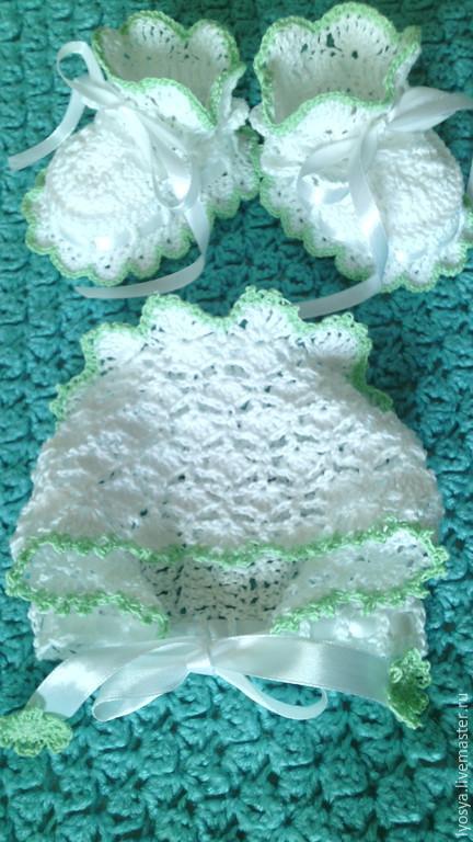 Для новорожденных, ручной работы. Ярмарка Мастеров - ручная работа. Купить Пипетки и чепчик из 100% хлопка. Handmade. Белый