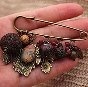Украшения handmade. Livemaster - original item Brooch pin Autumn leaves on the scarf tippet coat with Jasper pendants. Handmade.