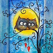 Картины и панно ручной работы. Ярмарка Мастеров - ручная работа декоративное панно маленькая Картина с совами Свидание в лунную ночь. Handmade.