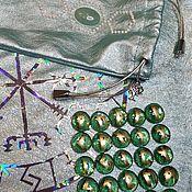 Фен-шуй и эзотерика handmade. Livemaster - original item Runes set with a leather bag for runes with green aventurine. Handmade.