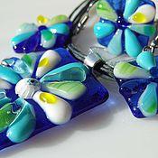 Украшения handmade. Livemaster - original item Set of glass ornaments Bright sky. Fusing jewelry. Handmade.