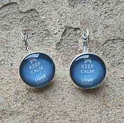 Украшения handmade. Livemaster - original item Earrings silver plated Keep calm (blue). Handmade.