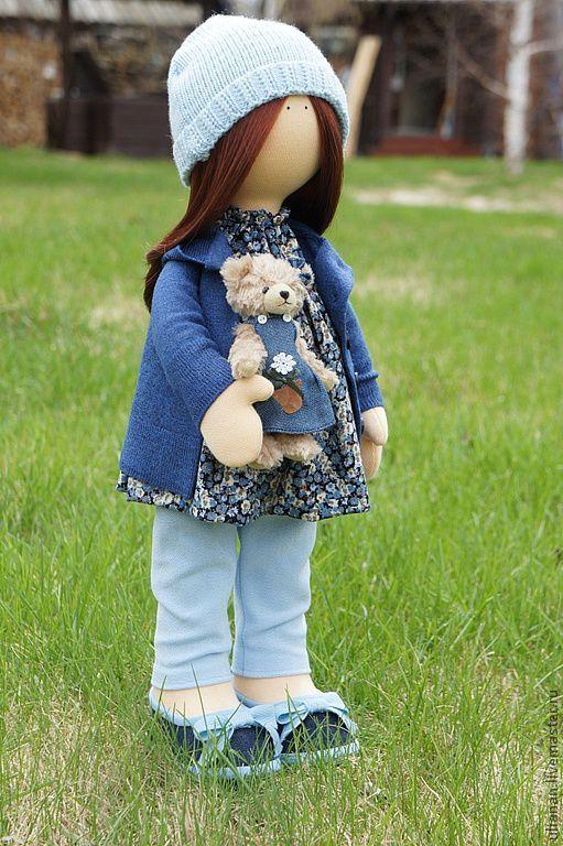 Человечки ручной работы. Ярмарка Мастеров - ручная работа. Купить Текстильная кукла.. Handmade. Голубой, трикотаж