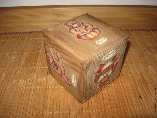 Детская ручной работы. Деревянный кубик. Любителям Тедди. Детские игрушки. Безопасно для детей.