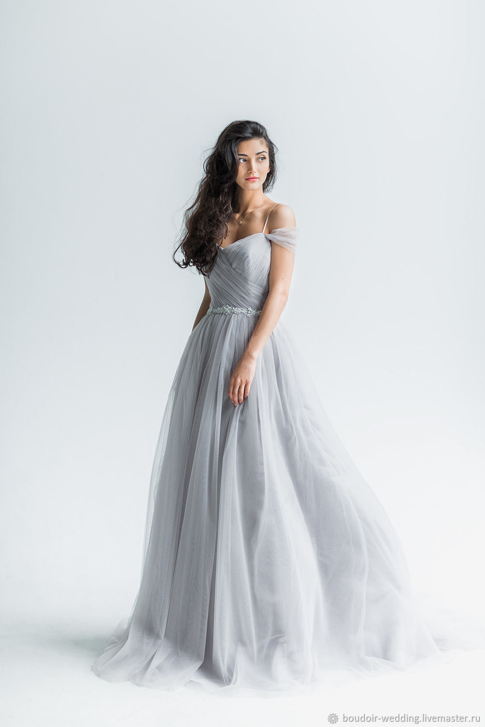 Dusty grey wedding dress trudy shop online on livemaster with wedding dress trudy made of draped tulle dusty gray hue will beautifully accentuate the figure junglespirit Images