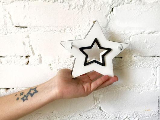 Прихожая ручной работы. Ярмарка Мастеров - ручная работа. Купить Ключница настенная Звезда. Handmade. Белый, ключница деревянная, фанера
