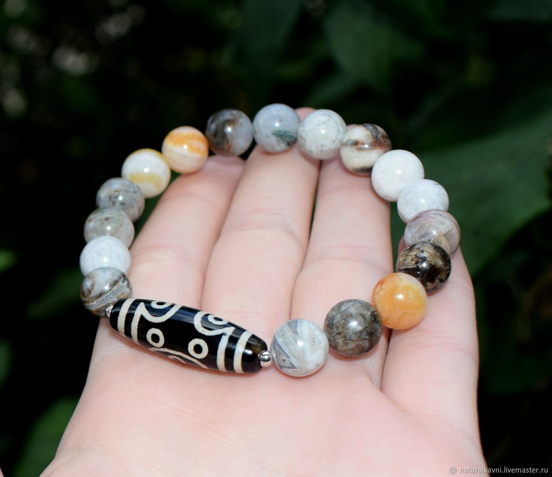 Bracelet natural agate and dzi bead 12 eyes, Bead bracelet, Moscow,  Фото №1