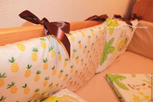 Детская ручной работы. Ярмарка Мастеров - ручная работа. Купить Комплект в детскую кроватку. Handmade. Желтый, бортики в кроватку, москва