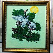 Картины ручной работы. Ярмарка Мастеров - ручная работа Вышитая картина Журавли. Handmade.