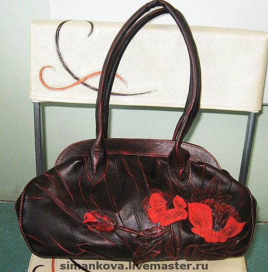 Женские сумки ручной работы. Ярмарка Мастеров - ручная работа. Купить маки. Handmade. Натуральная кожа, бордовый