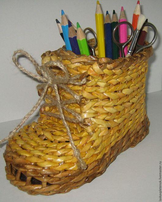 Корзины, коробы ручной работы. Ярмарка Мастеров - ручная работа. Купить подставка-башмак для карандашей. Handmade. Плетеные изделия