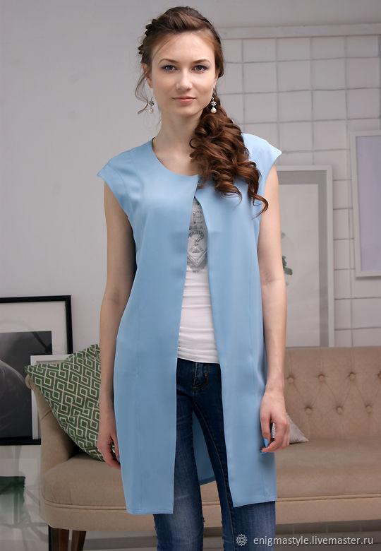 Long blue Sky women's vest, blue sleeveless women's vest, Vests, Novosibirsk,  Фото №1