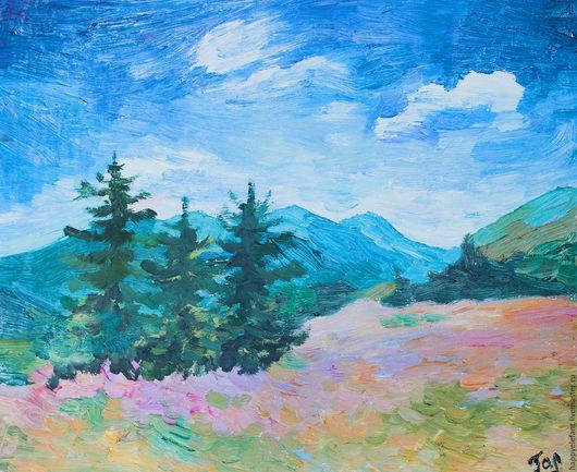 Пейзаж ручной работы. Ярмарка Мастеров - ручная работа. Купить Воздух предгорья (три ёлки), картина маслом. Handmade. Синий