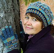 Аксессуары ручной работы. Ярмарка Мастеров - ручная работа твидовый вязаный комплект из берета и перчаток. Handmade.
