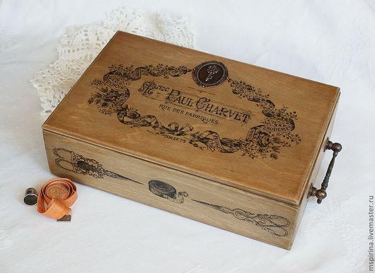 Шкатулки ручной работы. Ярмарка Мастеров - ручная работа. Купить Швейная коробка «Haute couture». Handmade. Коричневый, шкатулка, винтаж