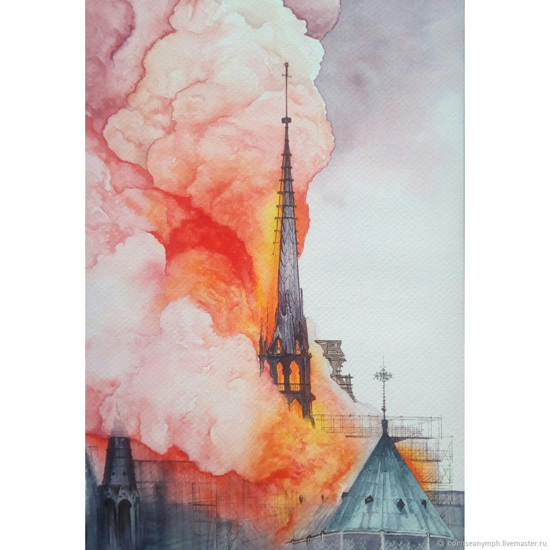 "Картина: ""Пожар в Соборе Парижской Богоматери"" 18 на 26 см, Картины, Москва, Фото №1"