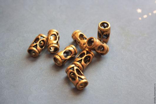 Для украшений ручной работы. Ярмарка Мастеров - ручная работа. Купить Бусины трубочки под античное золото разные. Handmade.