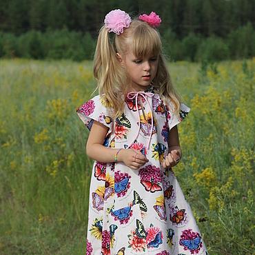 """Работы для детей, ручной работы. Ярмарка Мастеров - ручная работа Розовое платье для девочки """"Бабочки"""" из  американского хлопка. Handmade."""
