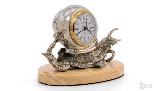 Статуэтки ручной работы. Ярмарка Мастеров - ручная работа. Купить Улитка (серебрение). Handmade. Бронза, скульптура из бронзы, часы интерьерные