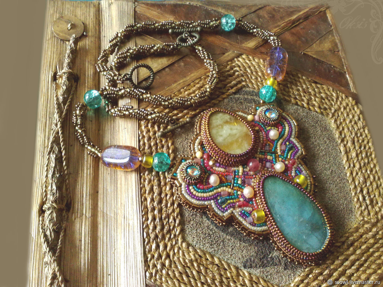 Necklace (pendant) Bronze Celt Natural aquamarine, Heliodorus, pearls, Necklace, Bryansk,  Фото №1