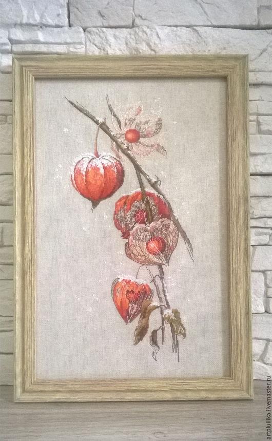"""Картины цветов ручной работы. Ярмарка Мастеров - ручная работа. Купить """"Физалис"""" картина вышитая крестом. Handmade. Комбинированный"""