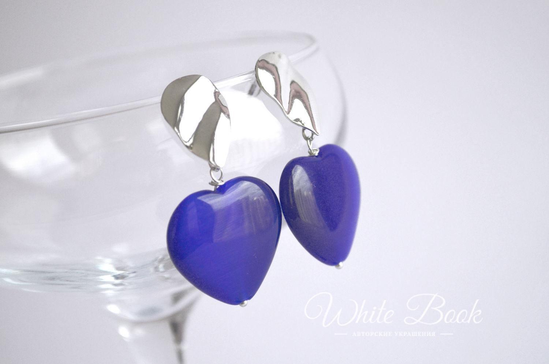 Heart earrings with blue cat's eye, Earrings, Moscow,  Фото №1