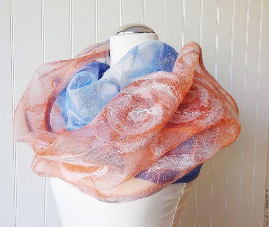 """Шарфы и шарфики ручной работы. Ярмарка Мастеров - ручная работа. Купить Шарф женский валяный шелковый шерстяной """"Нежные розы"""" розовый голубой. Handmade."""