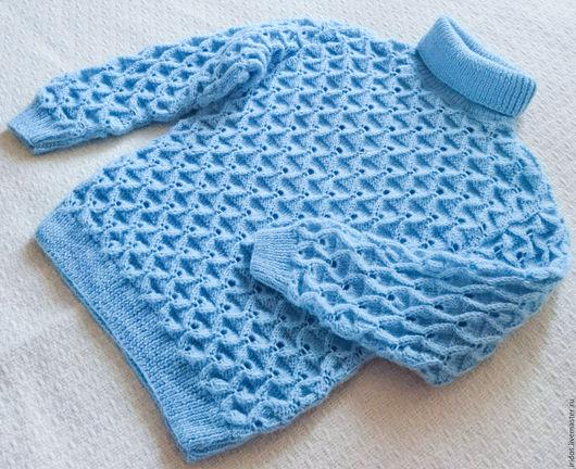 Одежда для девочек, ручной работы. Ярмарка Мастеров - ручная работа. Купить Свитер для девочки. Handmade. Голубой, свитер вязаный, красивый