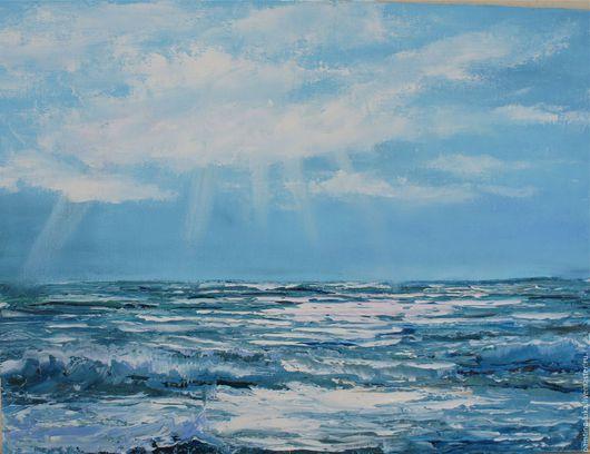 """Пейзаж ручной работы. Ярмарка Мастеров - ручная работа. Купить Картина маслом """"Море"""". Handmade. Голубой, картина в подарок, картина"""