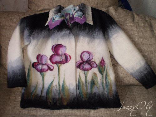 """Пиджаки, жакеты ручной работы. Ярмарка Мастеров - ручная работа. Купить Жакет """"Ирисы"""". Handmade. Шерсть"""