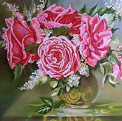 """Картины и панно ручной работы. Ярмарка Мастеров - ручная работа Картина маслом цветы """" Пять роз"""". Handmade."""